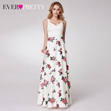 Elegnat Floral Printed Homecoming Dresses Ever Pretty Sleeveless A Line V Neck Simple Beach Style Graduation Dresses Vestidos