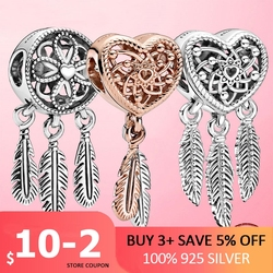2020 New 925 Sterling Silver Openwork Heart & Three Feathers Dreamcatcher Charm Beads fit Original Pan Bracelet 925 jewelry