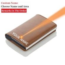 Tarjetero antibloqueo para hombre, funda de Metal RFID de aluminio, minimalista, para tarjetas de viaje, 2020