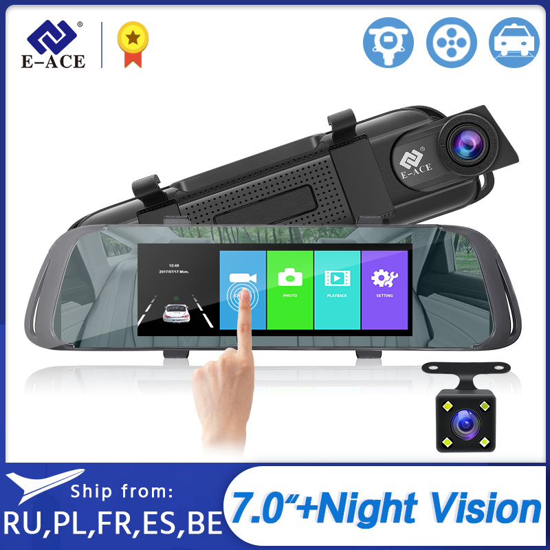 E-ACE Car DVR 7 0 Inch Touch Video Recorder Mirror Camera FHD 1080P Dual Lens with Rear View Camera Auto Registrator Dash Cam