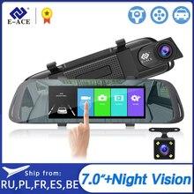 E ACE retrovisor DVR con cámara de salpicadero para coche, grabadora de vídeo táctil de 7,0 pulgadas, lente Dual FHD 1080P, cámara de visión trasera