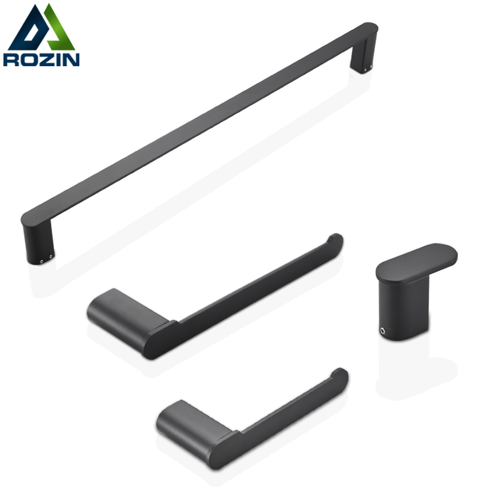 Matte Black Stainless Steel Bathroom Hardware Accessories Set Robe Hook Towel Ba