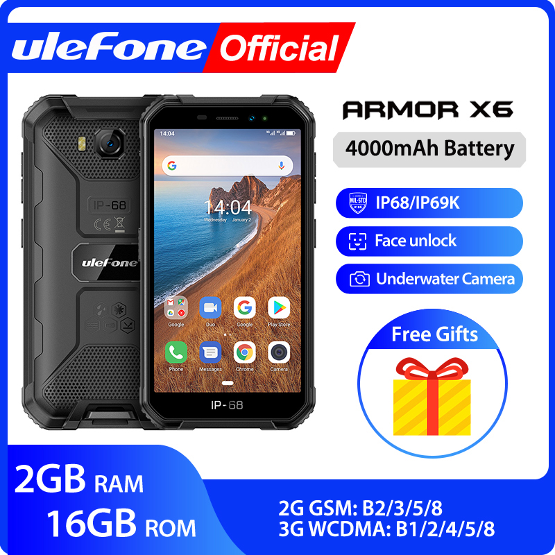 Ulefone Armor X6 IP68 MT6580 Rugged Waterproof Smartphone Android 9.0 Cell Phone Mobile Phon/Quad-core/ 4000mAh /2GB 16GB /3G