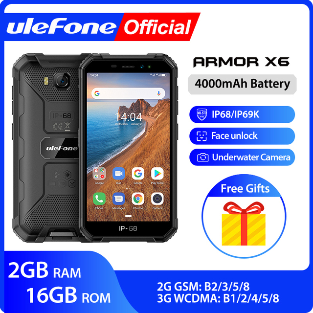 Ulefone Armor X6 IP68 MT6580 Rugged Waterproof Smartphone Android 9.0 Cell Phone Mobile Phon/Quad core/ 4000mAh /2GB 16GB /3G
