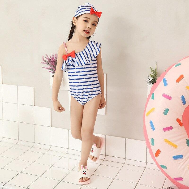 2018 New Style KID'S Swimwear Women's Cute Korean-style One-piece Hot Springs Bathing Suit Women's BlueMotion Baby Girls