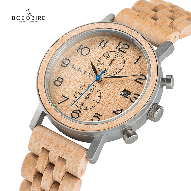 Wooden Watches Luxury Chronograph Bobo Bird Metal Gift Handmade Reloj Hombre C-S08 Awesome