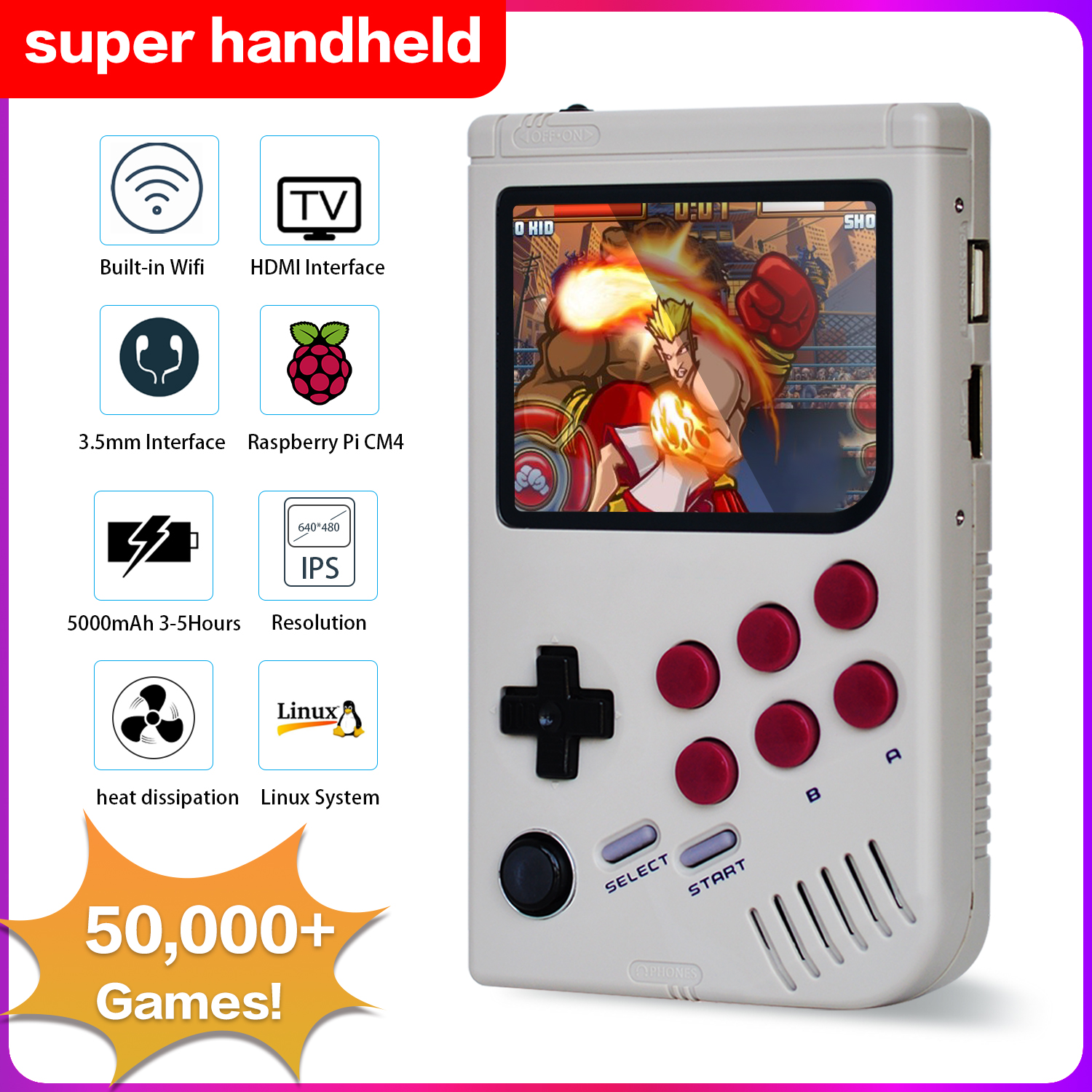 Dikdoc Handheld Game Console Mini Portable Retro Game Console 50000 Games HD TV Console Pi-boy CM4 Video Gaming Player