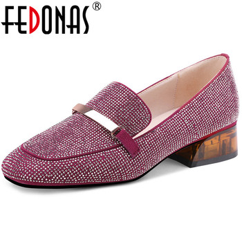 FEDONAS Sweet Kid Suede Leather Shoes For Women Glitters Chunky Heels Pumps 2020 Spring Summer Loafers Party Prom Shoes Woman