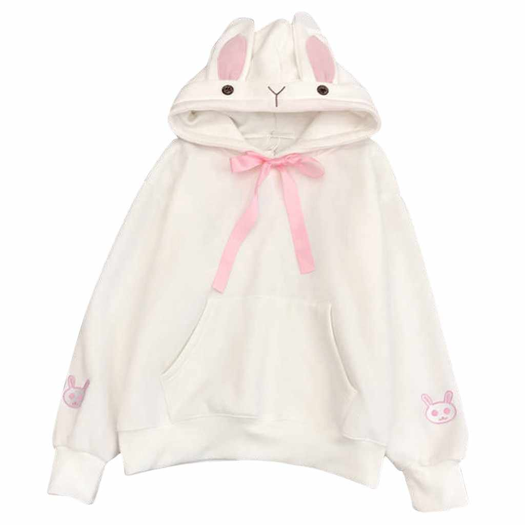 Kawaii Harajuku هوديس المرأة الأرنب الأرنب الأذن هودي البلوز الشارع الشهير الخريف الشتاء الدافئة الصوف قناع السترة القمم # L30
