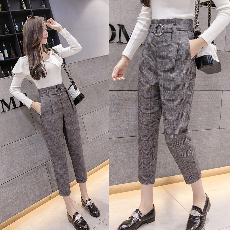 S-2xl Autumn Retro Bud Trousers Women 2019 Fashion Harem Pants Women Plus Size Formal Pants Women With Belt