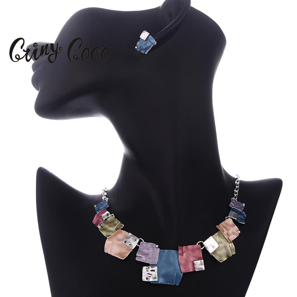 Fashion African Costume Jewelry Sets Chain for Women Enamel Necklace Geometric Earrings Necklaces Set Summer Enamel Alloy Choker