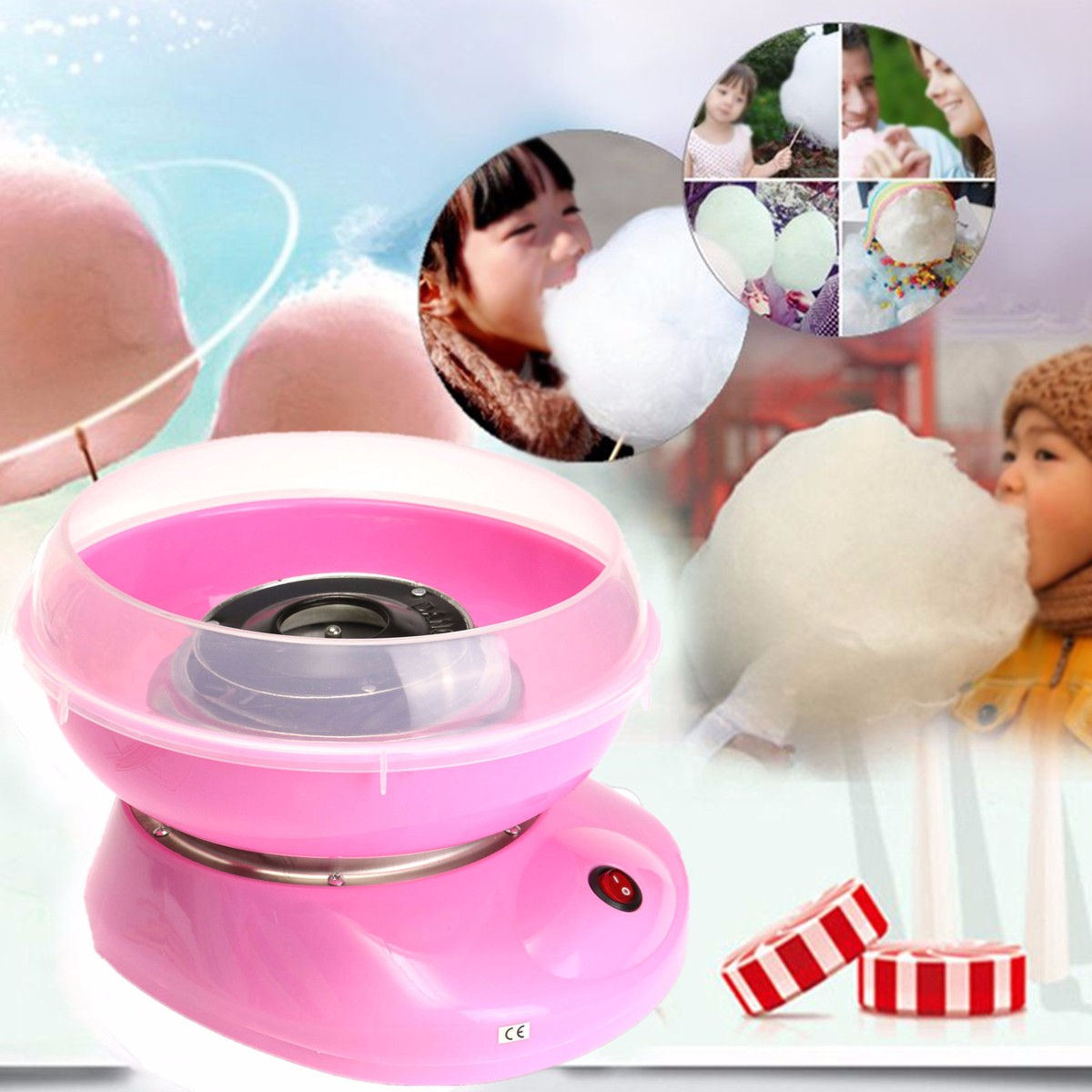 Creatives Portable Electric Cotton Candy Machine Home Party DIY Fancy Pink Candy Making Machine Home Party Kids Creatives Gift