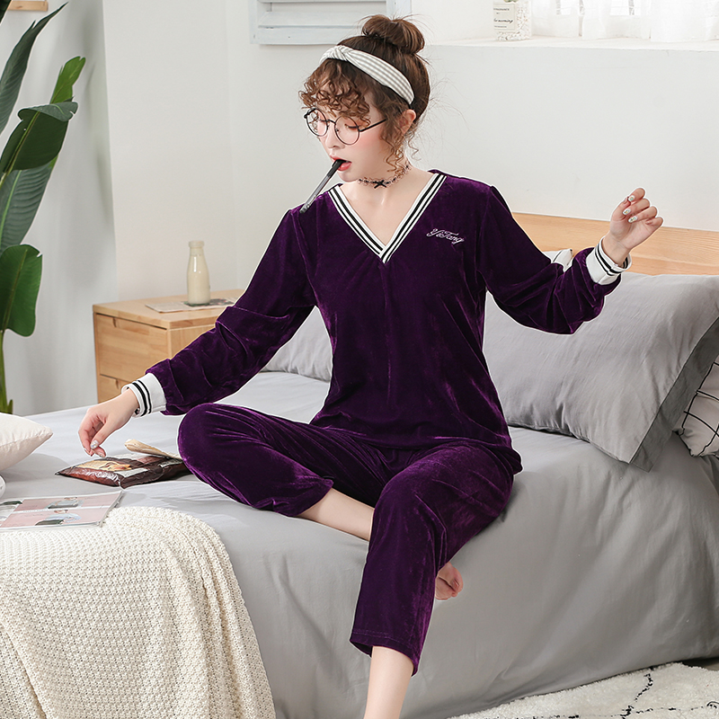 2019 WAVMIT Autumn Winter New Women's Flannel Long Sleeve Pajamas Set Loose Elastic Women Sleepwear Gold Velvet Homewear Cloth