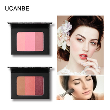 UCANBE 3 In 1 Mineral Blush Makeup Palette Face Cheek Bronzer Blusher Shading Pressed Powder Contour Natural Pink Cosmetic ruby rose face makeup cheek blusher pigmented natural face blusher powder cosmestics professional palette blush contour shadow