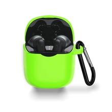 Capa protetora de silicone bolsa de pele com mosquetão à prova de choque à prova de choque para jbl tune 225 220 tws true wireless earbuds