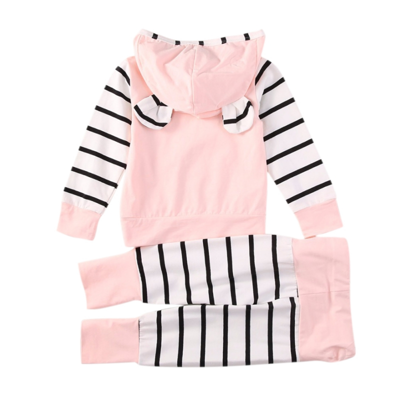 Baby Girls Clothes Autumn Spring Long Sleeve Warmer Patchwork Print Hoodie Sweatshirt Tops+Pants Trouser Casual Set 2019