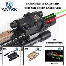 PEQ 15 táctico WADSN Airsoft PEQ 15 LA5C UHP, Láser de Punto Verde/rojo sin IR, linterna de reinicio cero, luces de arma de caza WEX453