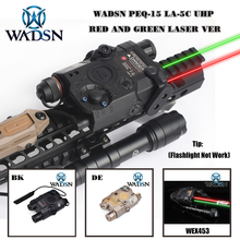 WADSN Airsoft PEQ 15 LA5C 전술 PEQ 15 UHP IR 손전등이없는 녹색/적색 도트 레이저 제로 리셋 사냥 무기 조명 WEX453