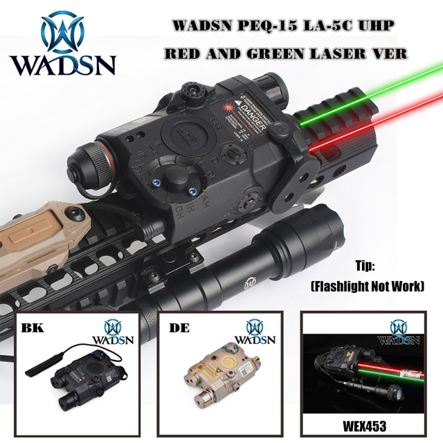 WADSN Airsoft PEQ 15 LA5C Tactical PEQ 15 UHP Green/Red Dot Laser Without IR Flashlight Zero Reset Hunting Weapon Lights WEX453