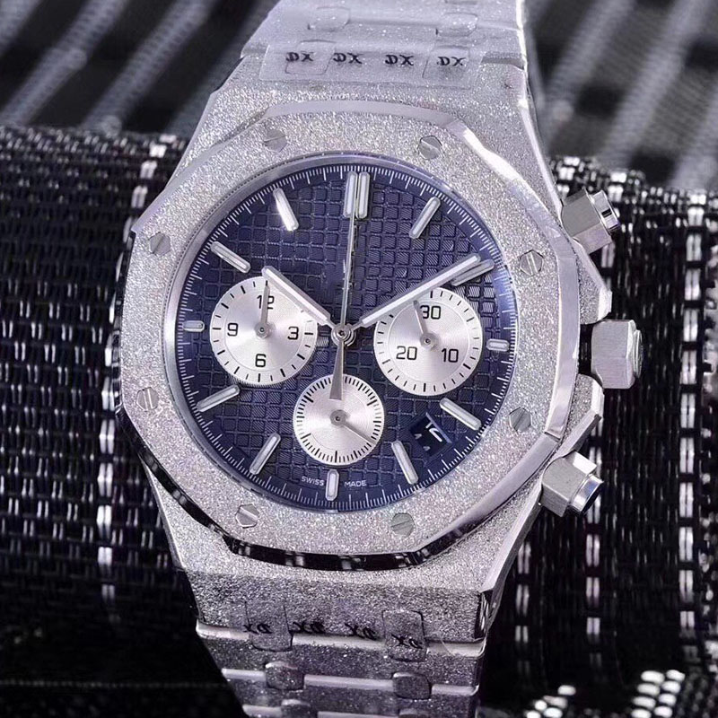 FROSTED Rose Gold  Stainless Steel Quartz Chronograph Luxury Brand Designer Mens Watch Men Watches Masculino Wristwatches