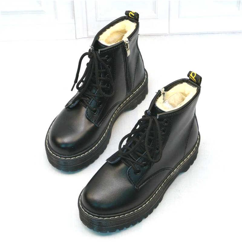 Zapatos Martin de mujer con cremalleras, botas informales de invierno abrigadas con cordones, botines de mujer
