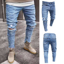 Men Stretchy Ripped Skinny Biker Jeans Destroyed Hole Slim Fit Denim Scratched High Quality Jean Destroyed Slim Fit Denim Pants destroyed fishnet insert fray trim denim skirt