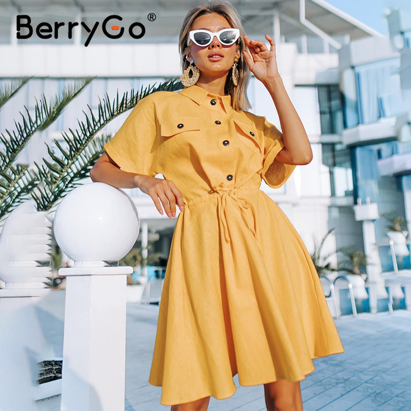 BerryGo Ladies Office Women Dress Casual Solid Buttons Female Shirt Sundress 2020 Summer Style Loose Sleeve A Line Midi Dress