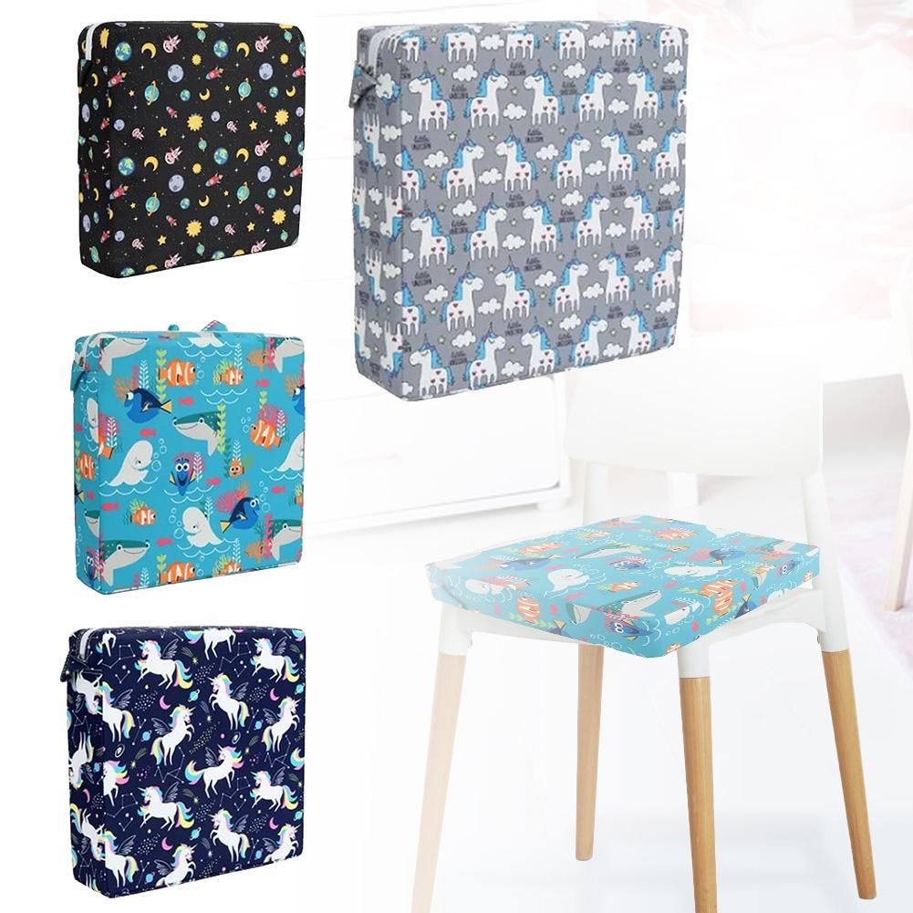 Kids High Chair Booster Seat Cushion Portable Cartoon Print Chair Cushion Baby Dining Chair Cushion Kids Chair Eating Assistant