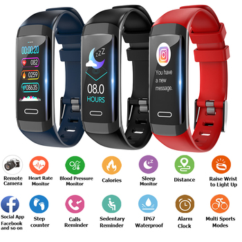 2019 Newest Smart Bracelet Band IP67 Smart watch Gift Waterproof Trajectory Calls Reject Heart Rate Blood Pressure Wristwatch