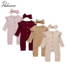 Детская одежда на весну и осень одежда в рубчик для новорожденных девочек и мальчиков Трикотажный Хлопковый комбинезон, однотонный комплект из 2 предметов