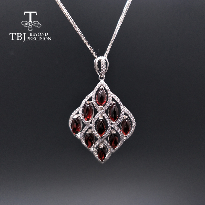 New Natural Mozambique Garnet Gemstone Big Size Pendant In 925 Sterling Silver Fine Jewelry With Gift Box For Women Daily Wear