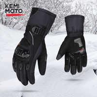 Kemimoto inverno quente luvas da motocicleta tela sensível ao toque à prova dwindproof água à prova de vento proteção luvas de inverno homens guantes moto luvas