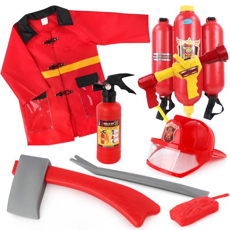 Children Simulation Plastic Pretend Toy Fireman Cosplay Accessories Sets With Axe And Extinguiher For Kids Gift