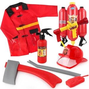 Ensembles d'accessoires de Cosplay de pompier de jouet de Simulation en plastique d'enfants avec la hache et l'extinction pour le cadeau d'enfants
