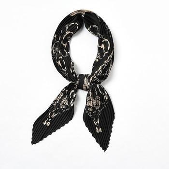 цена на 2020 Women Pleated Neck Scarf Silk Soft Stripe Bandana Spring Design Print Foulard Crinkle Fashion Handkerchief  Bufanda Mujer