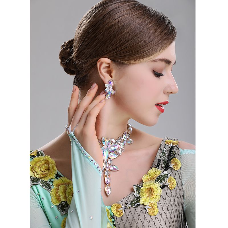 H2603 Women Dangle Earrings Professional Dance Accessories Latin Modern National Standard Dance Performance Competition Jewelry(China)