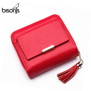 BISONJS Leather 2020 Women Wallet Coin Purses Holders Pocket Cowhide Female Short Wallet Id Card Holder Carteira Feminina B3276