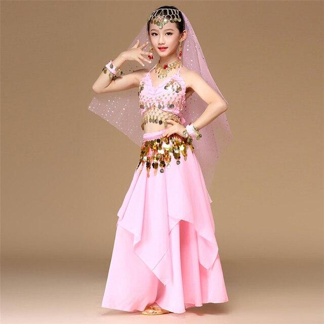 5 teile/satz Rosa Stil Kinder Bauchtanz Kostüm Oriental Dance Kostüme Bauchtanz Tänzerin Kleidung Indischen Tanz Kostüme Für Kinder