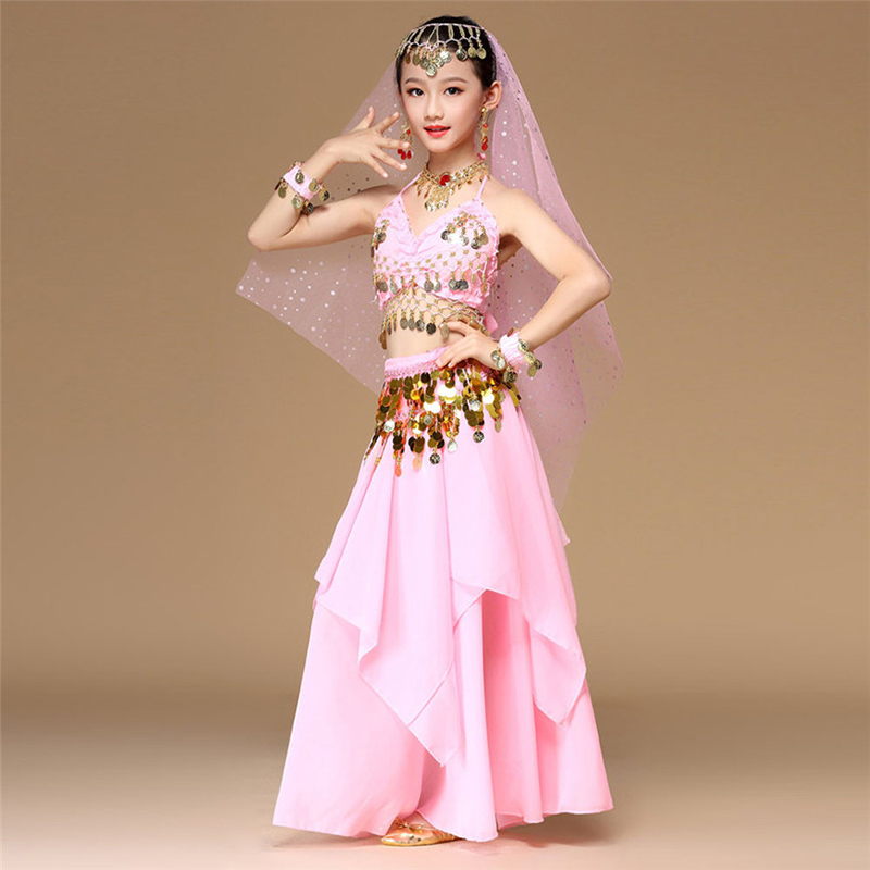 5pcs/set Pink Style Kids Belly Dance Costume Oriental Dance Costumes Belly Dance Dancer Clothes Indian Dance Costumes For Kids