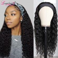 Longqi – perruque brésilienne ondulée sans colle, cheveux 100% naturels Remy, avec foulard, densité 150%, pour femmes