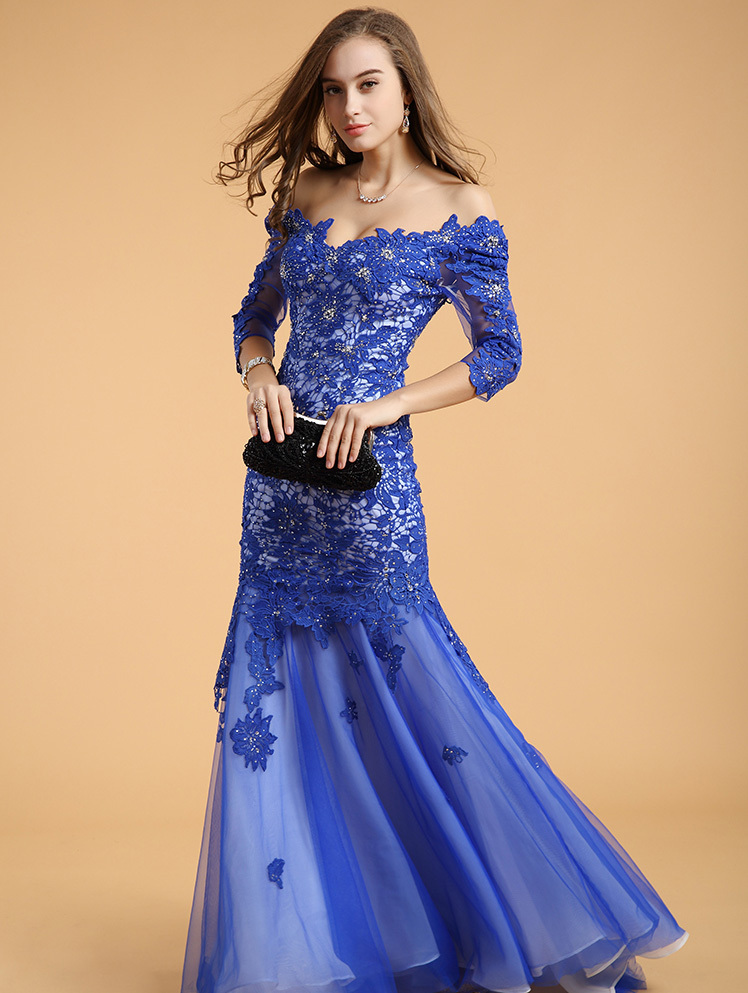 Robe De Soiree Brides 2018 New Sexy Backless Royal Blue Lace Crystal Vestido De Festa Evening Gown Mother Of The Bride Dresses