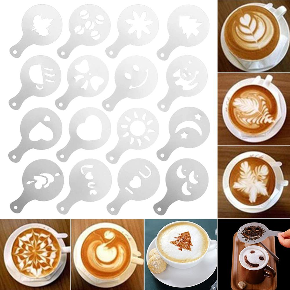 Brand New 16 PCS Coffee Decorative Mold Barista Template Classic Design Durable And Safe To Use