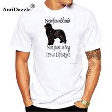 Antidazzle Loved By A Newfoundland Dog 2017 New Trendy T Shirts Men Short Sleeve O Neck Men T Shirts Family Clothes Tops(China)