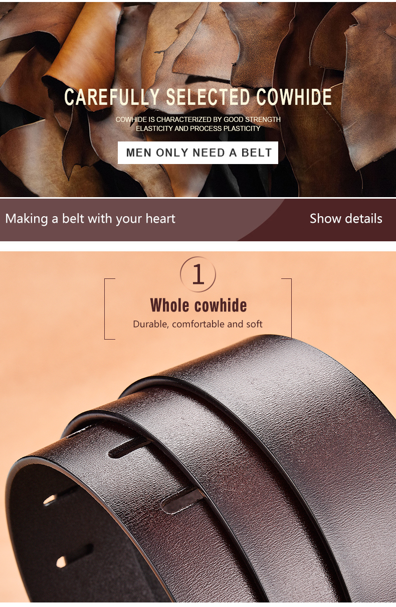 H161d7cdb771f493aba848c59b9be12bcM - NO.ONEPAUL Genuine Leather For Men High Quality Black Buckle Jeans Belt Cowskin Casual Belts Business Belt Cowboy waistband