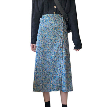Vintage Floral Print Long Skirts Spring Summer Women Skirt Streetwear Elastic Waist Midi Skirts High Waist A-Line Ladies Skirt spring vintage skirts 2019 new autumn floral women skirts elegant long sleeve high waist a line skirts
