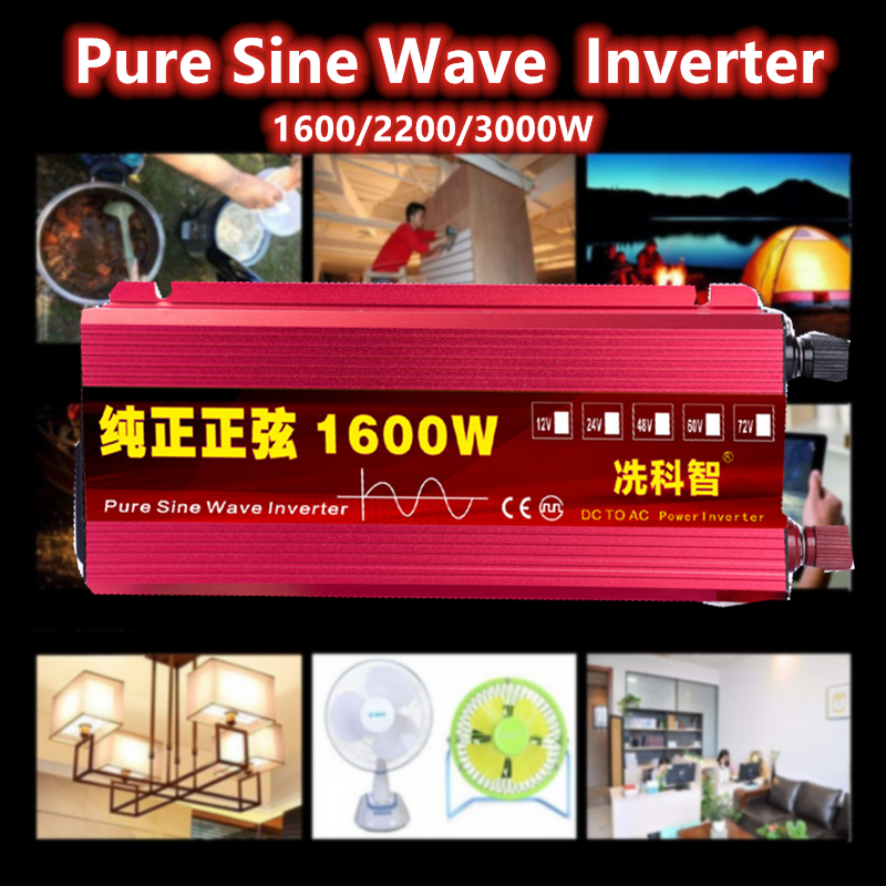 <font><b>Inverter</b></font> 12/<font><b>24</b></font>/48/60V 1600/2200/3000W Spannung Transformator Reine Sinus Welle power <font><b>Inverter</b></font> DC12V zu AC <font><b>220V</b></font> Konverter + Led-anzeige image