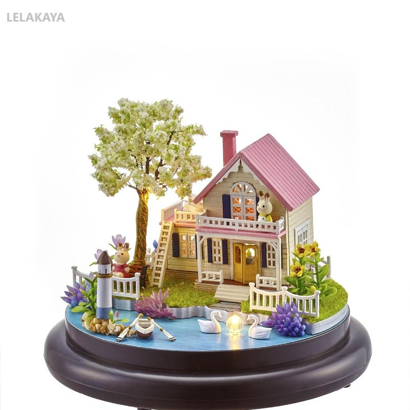 DIY Mini Doll House Spring Of Flowers Wooden Handmake Miniature Furniture Craft Glass Ball Toy Building Model Kits Dollhouse