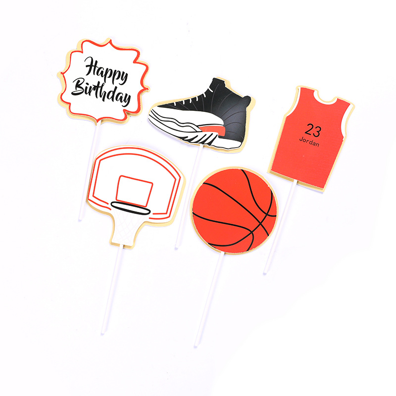 Cake Topper Happy Birthday Cake Decoration Basketball Shoes Card for Kids Baking Cake Boys Birthday Party Dessert Decoration E