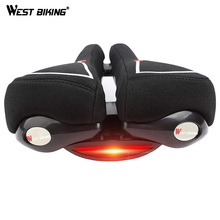 WEST BIKING Comfortable Bicycle Saddle with Taillight Cycling Cushion Shockproof Hollow Half Design Road MTB Bike