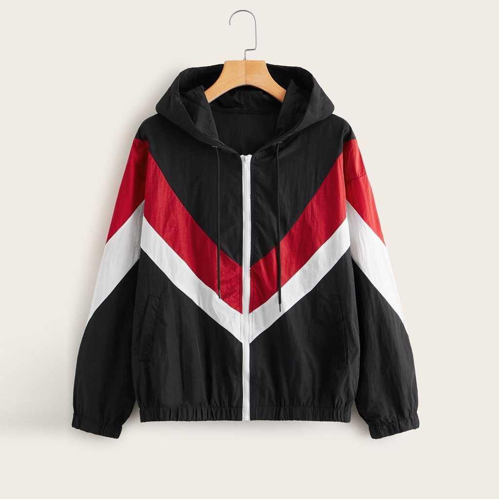 المرأة جاكت مزود بغطاء للرأس 2019 الربيع الخريف السببية windbreake طويل كم ليوبارد خليط مقنعين سستة منفذها jaqueta الأنثوية